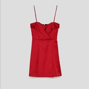 Women's Zara Basic Festive Season Red Dress XS